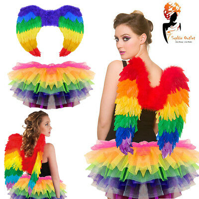 Rainbow Tutu Costume Feather Fancy Dress Outfit Bird Fairy Party Book Day Week • 18.50£