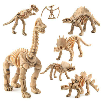 $4.30 • Buy 12pc Plastic Dinosaur Fossil Skeleton Figures New Dino Bone Toy Model Gifts
