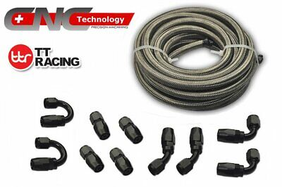 AU118.96 • Buy -6AN 6M 20FT Stainless Steel Gas Oil Fuel Line & Black Fitting Hose Adaptor Kit