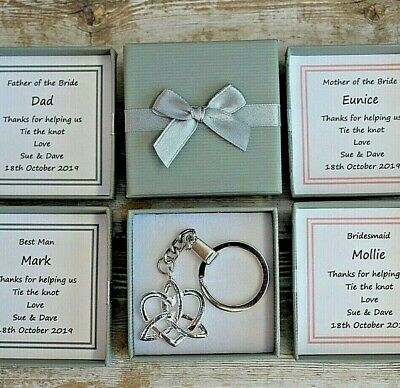 Personalised Father Of The Bride Groom Gift Thank You Keepsake Key Ring Loveknot • 3.99£