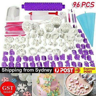 AU29.77 • Buy 96pcs Fondant Cake Decorating Pastry Plunger Cutter Tools Flower Mold Mould Set