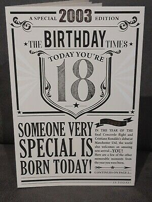 £3.99 • Buy 18th Today Year You Were Born In Birthday Card 2003 Events Large Newspaper Style