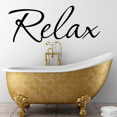 Wall Stickers RELAX BATHROOM WALL QUOTE STICKERS Vinyl Wall Art Decal  N39 • 7.50£