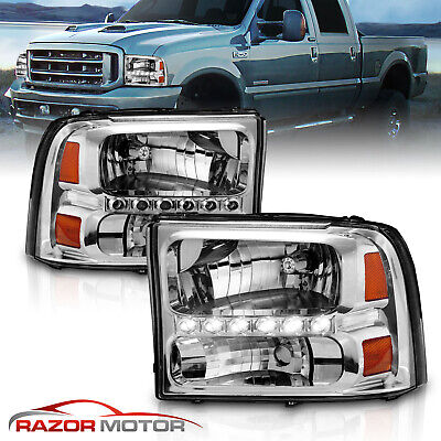 $127.99 • Buy 1999-2004 Chrome Headlight For Ford F250/F350 Superduty Excursion [LED DRL]