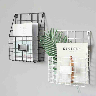 Simple Style Wire Magazine Newspaper Basket Wall Mounted Post Storage Rack Black • 8.69£