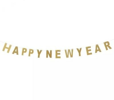 Happy New Year Bunting/banner-3m-gold Glitter Garland-party Decoration-years Eve • 4.99£