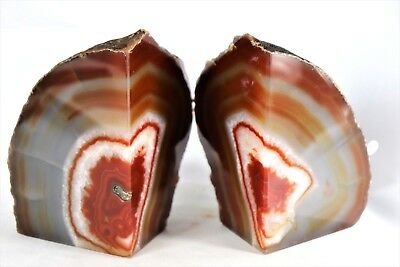 AB109) Brown Agate Quartz Crystal Bookends -House Office Gift  Home Decor 2.12KG • 45£
