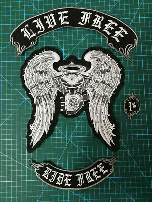 Motorcycle Patches Badges Of Jacket Vest Garment Ride Free Or Free Rider • 30.35£