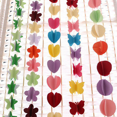 3d Paper Garland Bunting Heart Round Flower Butterfly Star Hanging Bunting Decor • 2.99£