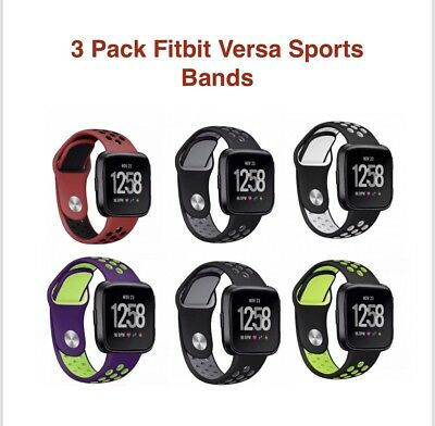 $ CDN12.54 • Buy Silicone Sport Band For Fitbit Versa Replacement  Activity Tracker ~ 3 Pack