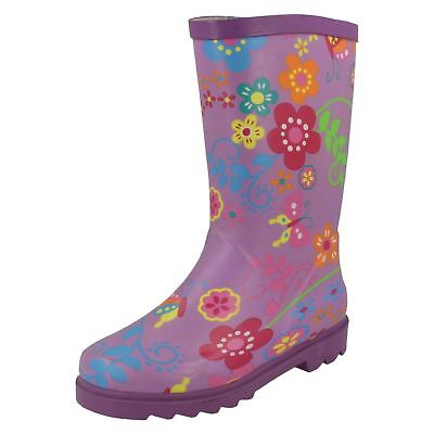 Ladies Spot On Flower Print 'Wellington Boots' • 19.99£