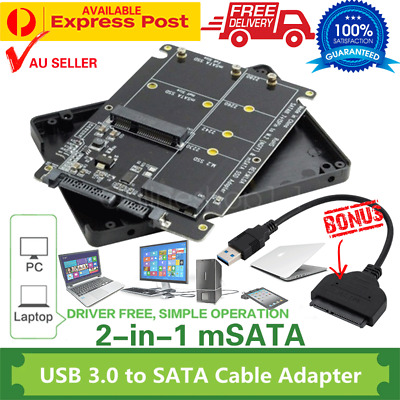 AU35.99 • Buy 2 In 1 MSATA + M.2 SSD To SATA3 Combo Adapter Case With USB 3.0 To SATA3 Cable