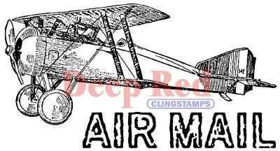 $6.99 • Buy Deep Red Stamps Vintage Air Mail Rubber Cling Stamp