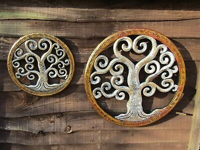 Fair Trade Hand Carved Made Painted Wooden Tree Of Life Wall Art Plaque Hanging  • 999.99£