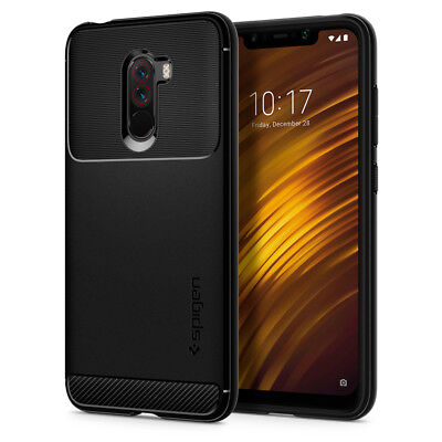 $ CDN18.69 • Buy For Pocophone F1 | Spigen® [Rugged Armor] Black TPU Protective Slim Cover Case