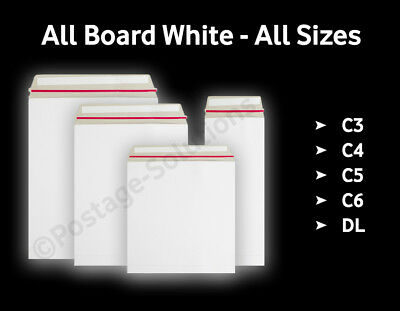£5.99 • Buy Strong All Board White - C3/A3 C4/A4 C5/A5 - 10 50 100 500 - Peel&Seal Envelopes