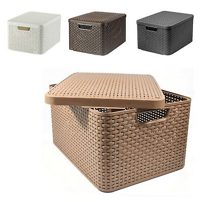 Large Storage Box Basket With Lid Size L 4 Colours Curver Rattan Style Container • 17.77£
