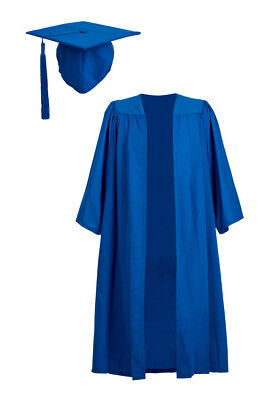 Blue Bachelor Graduation Gown With Mortarboard Cap Hat University Robe Academic • 24.99£