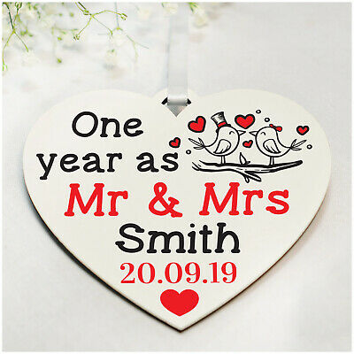 PERSONALISED 1st 10th 25th Wedding Anniversary Gifts For Her Him Wife Husband • 3.99£
