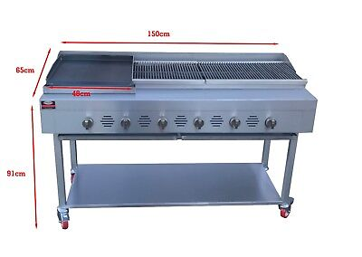 £1600 • Buy 6 Burner Commercial BBQ  Gas And Griddle Lava Rocks Grill