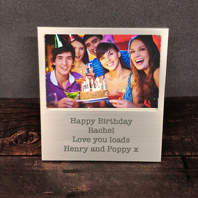 £8.99 • Buy Personalised Engraved Silver Photo Frame Birthday Gift 18th 21st 30th 40th 50th