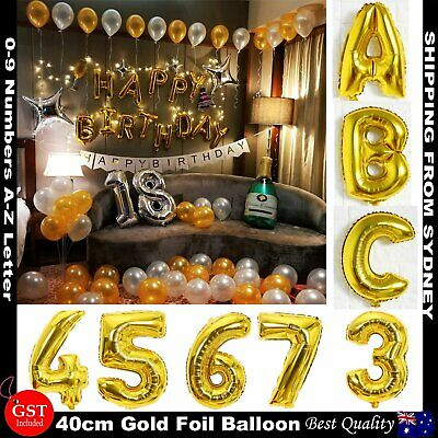 AU1 • Buy 40cm Gold Foil Letter Balloons Number Balloon Birthday Wedding Party Decorations