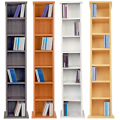 Tall CD DVD Rack 109cm Wooden Storage Shelf Tower Free Standing Unit  6 Teir New • 29.99£