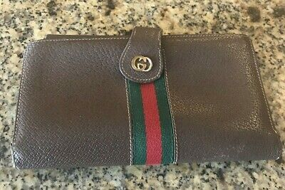 2e2b0d34d2e4 Vintage GUCCI Striped Red/Green Trifold Brown Leather Wallet • 75.00$
