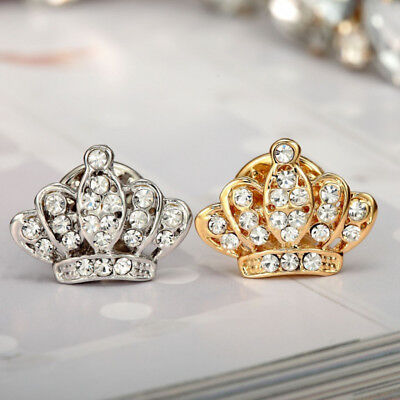 £3.50 • Buy Gold & Silver Imperial CROWN Brooch Pin Clear Crystal Diamante Lapel Suit Badge