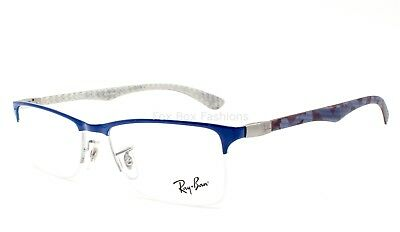 606c8d510a8 Ray-Ban RB 8413 2891 Eyeglasses Frames Blue ~ Multicolor Carbon Fiber ~  52mm •