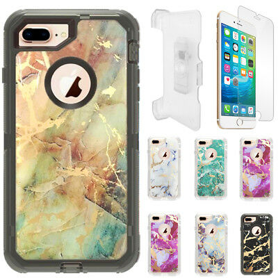 AU13.35 • Buy Marble Clear Defender Case For IPhone 6 Plus/6S Plus W/Screen Clip Fits Otterbox