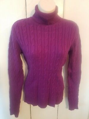 $13 • Buy Womens Charter Club Purple Cable Turtleneck Sweater Size Small~