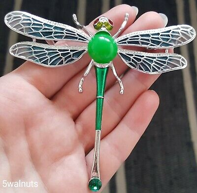 £6.29 • Buy Large Vintage Style Silver Dragonfly Brooch Green Crystal Insect Pin Broach UK