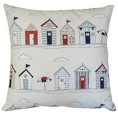 £8.99 • Buy Beach Hut Cushion. Double Sided 17 X17  Zipped. Nautical Seaside Blue And Red.