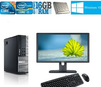 FULL DELL Quad Core I5 I3 I7 DESKTOP TOWER PC & LCD WINDOWS10 16GB 2TB 500GB SSD • 144.99£