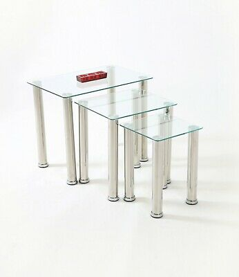Crystal Nest Of 3 Tables Glass Side End Table Square Nesting Chrome Legs Tables  • 63.75£