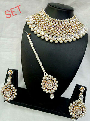 $28.99 • Buy Indian Bollywood Designer Pearl Fashion Bridal Jewelry Gold Plated Necklace Set
