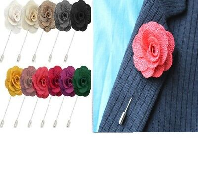 UK Handmade Flower Brooch Boutonnière Suit Lapel Wedding Party Accessory • 2.99£