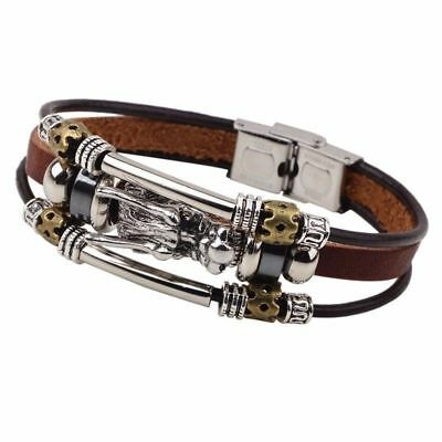 Mens Silver & Leather Viking Dragon Wolf Head Bracelet Bangle Multi-Layer Wrap • 6.95£