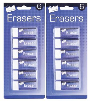12Pc Long White Rubber Eraser Office School Art Drawing Stationery Supplies • 3.29£