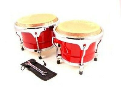 BONGOS 8 +9  Inch RED WOOD, DUAL DRUMS SET, WORLD LATIN Percussion NEW • 54.99$