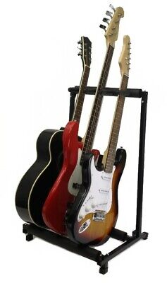 $ CDN34.16 • Buy 3 GUITAR STAND - MULTIPLE Three INSTRUMENT Display Rack Folding Padded Organizer