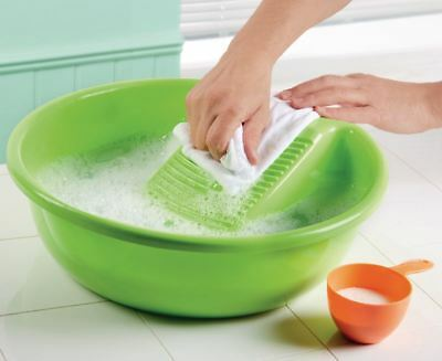 £12.95 • Buy Hand Washing Clothes Basin With Washboard Laundry Plastic Bowl 13xDia.40cm