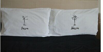 Stick Figures Personalised Name Love Pillowcases Gift Wedding Pair Valentine • 15.99£