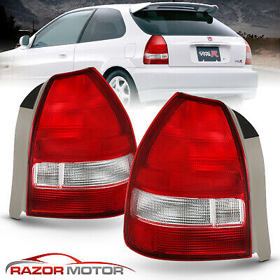 $82.63 • Buy For 1996 1997 1998 1999 2000 Honda Civic 3Dr Hatchback Red Clear Tail Lights