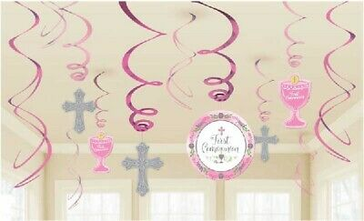 1st HOLY COMMUNION - 12 SWIRLS - PINK GIRLS -  Party Hanging Decoration CROSS • 5.99£