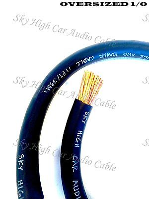 AU32.71 • Buy 10 Ft 1/0 Gauge Oversized AWG BLACK Power Ground Wire Sky High Car Audio Cable