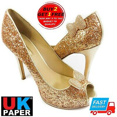 Bow Shoe Clips Decoration Diamante Crystal Pearl Gold Blank Charm Bridal Buckle • 3.19£