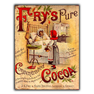 £4.95 • Buy SIGN METAL WALL PLAQUE FRY'S PURE COCOA Retro Vintage Kitchen Print C1890s