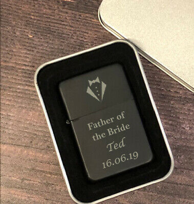 £6.99 • Buy Personalised Father Of The Bride Black Lighter Gifts Ideas For Wedding Favours